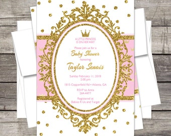 Royal Princess Baby Shower Invitation, Pink Or Lavender Gold, Silver,  Glitter, Crown