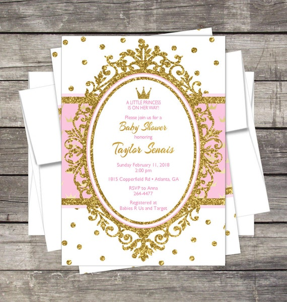Princess Baby Shower Invitation Gold Glitter or Silver Glitter