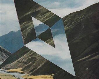 Geometric Art, Diamond Hand Cut, Original Paper Collage, Mountain Art, Absract Nature Art