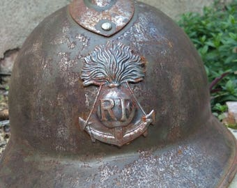French antique  bronze helmet of military 1914s WWI Official  coat of arm sacred heart  helmet
