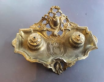 19th Century French Ink Stand Napoleon III empire  antique Heavy metal gilt gold inkwell pen holder tray ornate signed numbered ceramic pots