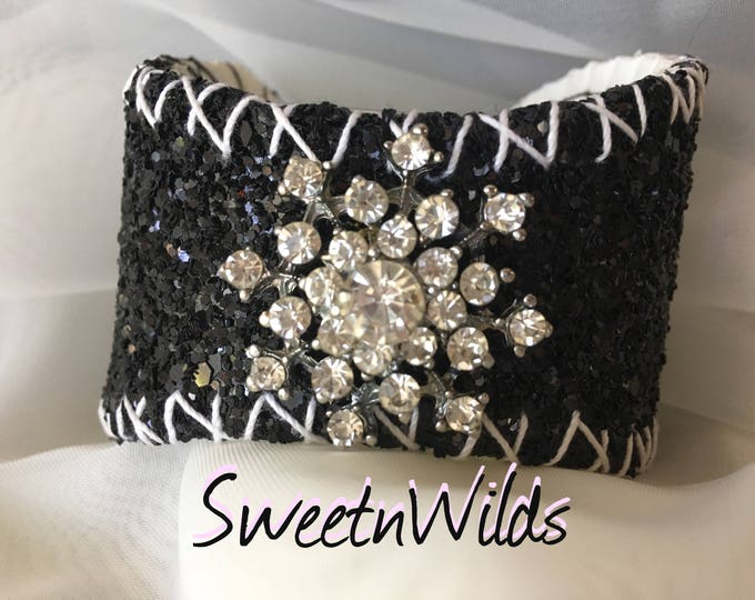 Dazzling Black Sparkles Cuff- Baseball Bracelet-Leather jewelry-READY TO SHIP-Diamonds-Wedding accessories-Holiday Gifts