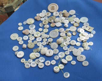 Large Lot Of Vintage White Creme Colored Plastic Buttons