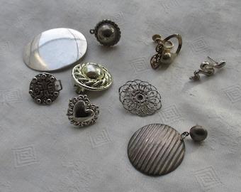 Lot Of Vintage Single Odd Metal Earrings Pierced Clip On Screw Back