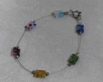 Retro Millefiori Glass Beaded Wire Bracelet