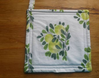 Pot holders Set of 2, Cloth Pot holders, Greenery Pot holders, Green Pot Holders