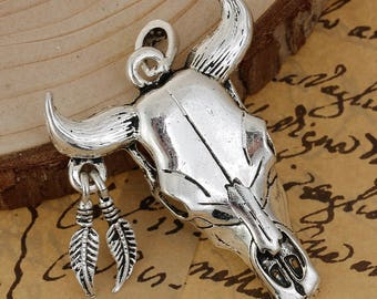 2 3D Steer Head Longhorn Pendants - Antique Silver - Boho - New Mexico Style - 56MM 2 1/4""
