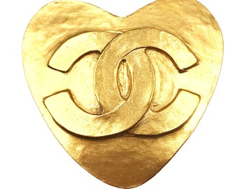 Chanel Vintage 24K Gold Plated CC Heart Brooch