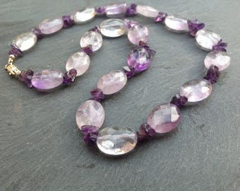 Ametrine, amethyst, gemstone necklace, Sterling silver, February birthstone, purple necklace, beaded jewellery,  gift for her