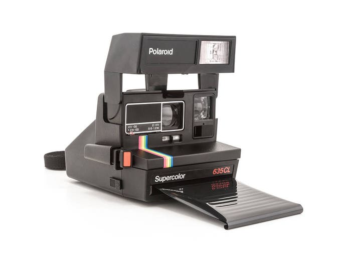 Featured listing image: Polaroid 600 Supercolor 635CL Instant Camera - Polaroid Originals Film Shield - Black Body Rainbow Stripe - Film Tested and Working