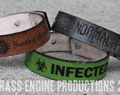 "3/4"" Adjustable Leather bracelet - Horror - Supernatural, Freddy, Jason, Cthulu - 6.75""-8.75"" - Color Choice"