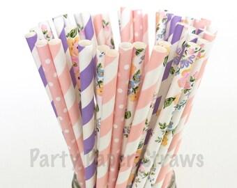 Paper Straws Summer Breeze Vintage Pink, Floral & Lavender / Pack of 25 Straws / Weddings Anniversary Birthdays Bridal Unicorn Inspired