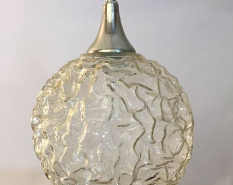 1970s Volcanic Glass Globe Pendant Light Fixture