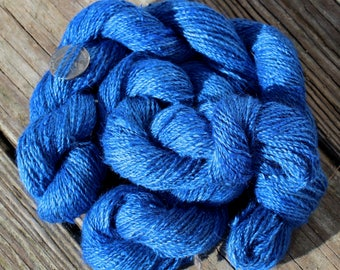 Alpine Blue 100% Suri Hand-dyed Fingering Weight Yarn