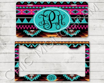 Gift Set License Plate + License Plate Frame Aztec Tribal Monogrammed Personalized Custom Gift Set Cute Car Accessories For Women