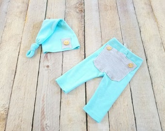 RTS - Newborn Photo Prop Upcycle Boy Outfit Aqua Blue Pants with Bum Flap Baby Boy Set - Ready to Ship