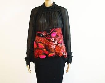 Black Red Chiffon Blouse Felted wool Fiber Art fashion top Art to Wear Textile art OOAK Size L - XL Goth Steampunk