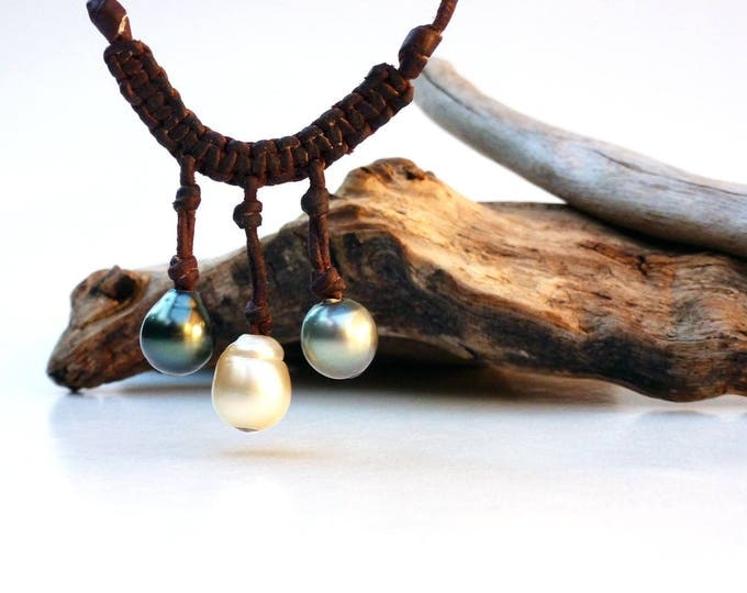 Tahitian pearls and australian pearl necklace - south sea pearls on leather