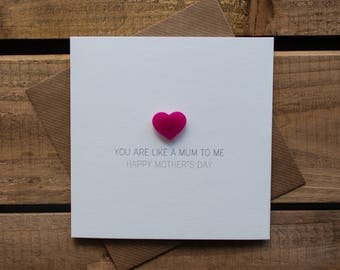 You are like a Mum to me Card with magnetic Love Heart Keepsake // Happy Mother's Day // Step Mum // Someone Special // Magnet Card