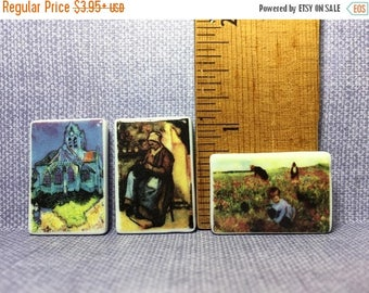SALE Tiny OIL PAINTING Art Museum Masterpiece Van Gogh, Pissarro, Cassatt Paintings - French Feve Feves Figurines Doll House Miniatures  K56