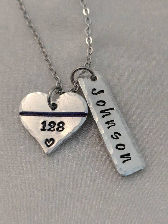 Thin Blue Line Necklace - Personalized Police Necklace - Back The Blue - Gift for Police Wife - Gift for Police Mom - Police Badge Jewelry