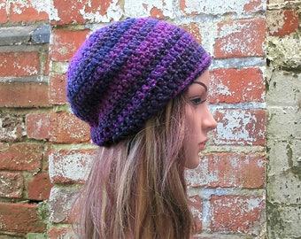 Crochet beanie hat.Purple beanie . Crochet hat .Festival beanie . Winter  beanie .