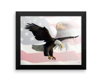 American Flag With American Eagle Framed poster