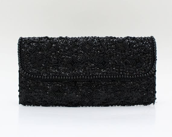 Vintage 1960s Black Beaded Sequin Clutch
