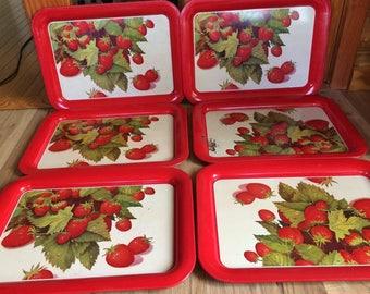 Set Of 6 Vintage Metal Strawberry Lap TV Trays
