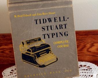 Tidwell-Stuart Typing course book-vintage school book-flip top-retro office-high school textbook