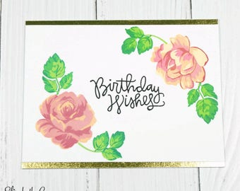 Birthday Cards Handmade, Beautiful Floral Card, Birthday Cards for Her, Birthday Card Wife, Mom, Handmade Greeting Card, Hand Stamped Cards
