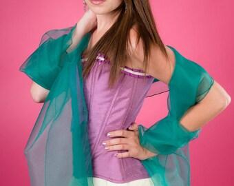 Green Emerald LD organza wedding shawl