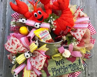 Made to Order~We Love Pinchin' Tails, Crawfish Wreath, Crawdad Wreath, Cajun Wreath, Cajun Decor, Crawfish Decor, Mud bug Wreath