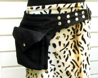 Snap fasteners hip bag, with deep pockets, Black fabric bumbag, Festival belt with press buttons