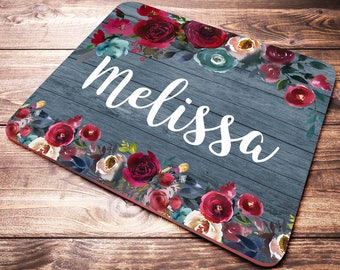 Personalized Mouse Pad, Name Mouse Pad, Monogram Mouse Pad, Floral Mousepad, Desk Accessories, Office Gifts, Desk Decor, Office Supplies