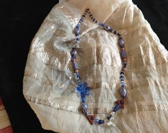Blue and goldstone glass beaded necklace