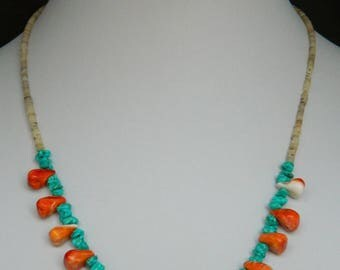 """Native American Santo Domingo Turquoise Orange Spiny Oyster Shell Necklace 19 1/2"""""""