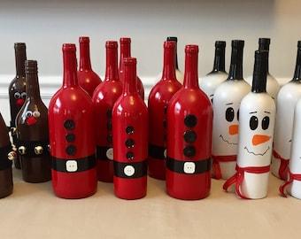 Christmas Wine Bottle Vases // Santa Snowman and Reindeer // Christmas Home Decor // Gift for Her // Holiday Decor