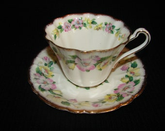 Royal Stafford 'Lyringa' Scalloped Teacup and Saucer with Yellow and Pink Flowers, Bone China Made in England