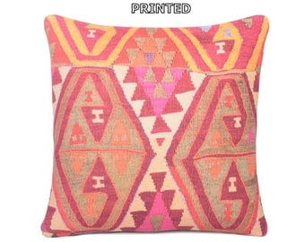 kilim pillow 18x18 red pillow cover red pillow case red pillow sham red throw pillow red decorative pillow red cushion cover red rugs 72-45