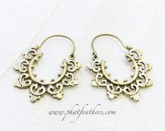 Brass Earrings, Tribal Earrings, Hoop Earrings, Indian Earrings, Intricate Earrings, Ethnic Earrings, Gypsy Hoops, Boho Earrings