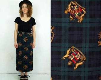 ON SALE 90's vintage high waisted pencil checked long skirt