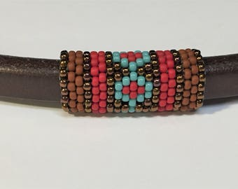 SALE: Handmade Beaded Tube, TerraCotta Brown, Turquoise and Red with Brass,  Licorice Leather finding, 8mm round cords, jewelry making