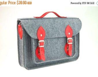 SALE Felt Macbook 11 inch satchel, Laptop bag, sleeve, Macbook Air 11 inch, Casual bag, Shoulder bag with leather strap