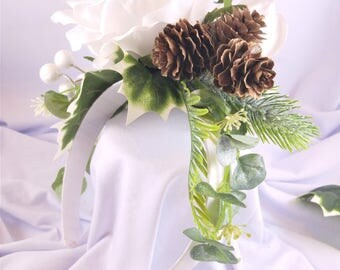 Ready to ship, White Rose and Pinecone Holiday Flower Crown - berries, christmas crown, winter crown, white flower crown, ships next day