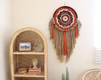Extra Large Mandala Wall Hanging Orange and Brown Fiber Art Woven Wool Wall Hanging