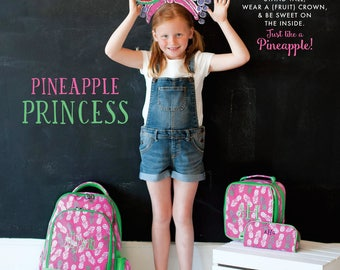 """Monogrammed """"Pineapple of My Eye"""" Back to School Collection - Backpack, Lunch Tote, Pencil Case, ID Case & Lanyard"""