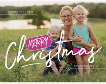 Merry Christmas Pink Joy Holiday Photo Christmas Card Personalized Holiday Card