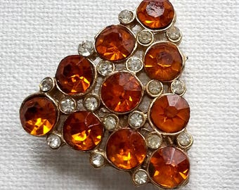 Amber & Clear Rhinestone Triangle Brooch, Vintage Gold Tone Pin, Victorian Revival Costume Jewelry