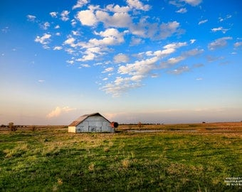 Barn Photo, Country Photography, Barn Landscape, Blue Sky Print, Minimalist Country, Photography Plains, Prairie Picture, Farm Artwork